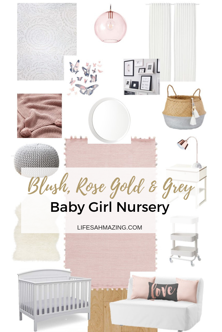 Chic Blush, Rose Gold and Grey Nursery: Inspiration and Moodboard images