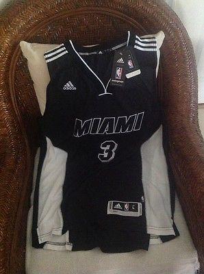 separation shoes d8d09 6df32 Black Dwyane Wade  3 Adidas NBA miami heat jersey NWT Size L Lenght+2 Mens
