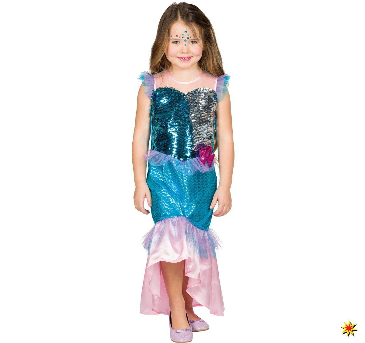 Kinder Kostüm Meerjungfrau Nixe, Kleid mit Wendepailletten ...