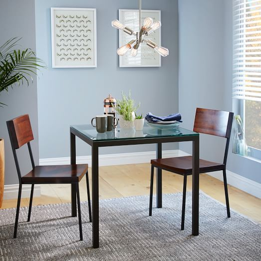 Box Frame Square Dining Table Glass West Elm Our Space - West elm square dining table