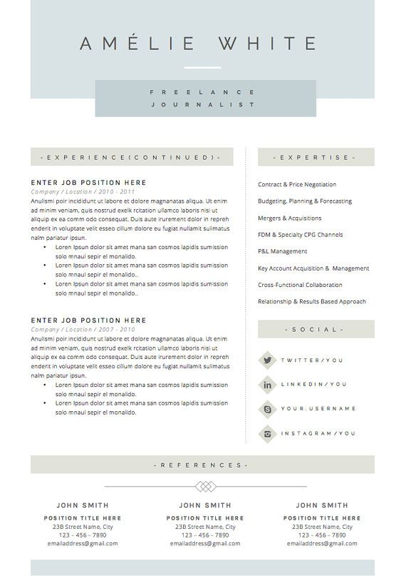 Resume Template 3pk CV Template Cover by TheResumeBoutique Work