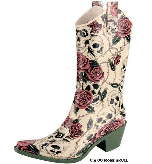 CB08 Women Rose Skull Rubber Cowboy Rain Boots Size 10 | For Bri ...