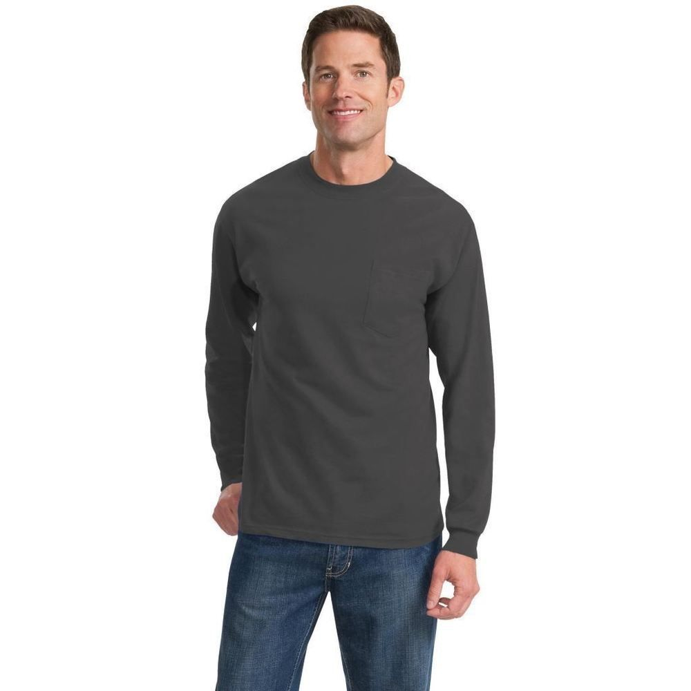 Tall Pc61lspt Mens Long Sleeve Pocket T Shirt Heavy Soft Spun Cotton Blank Tee Long Sleeve Tshirt Men Long Sleeve Pocket Tee