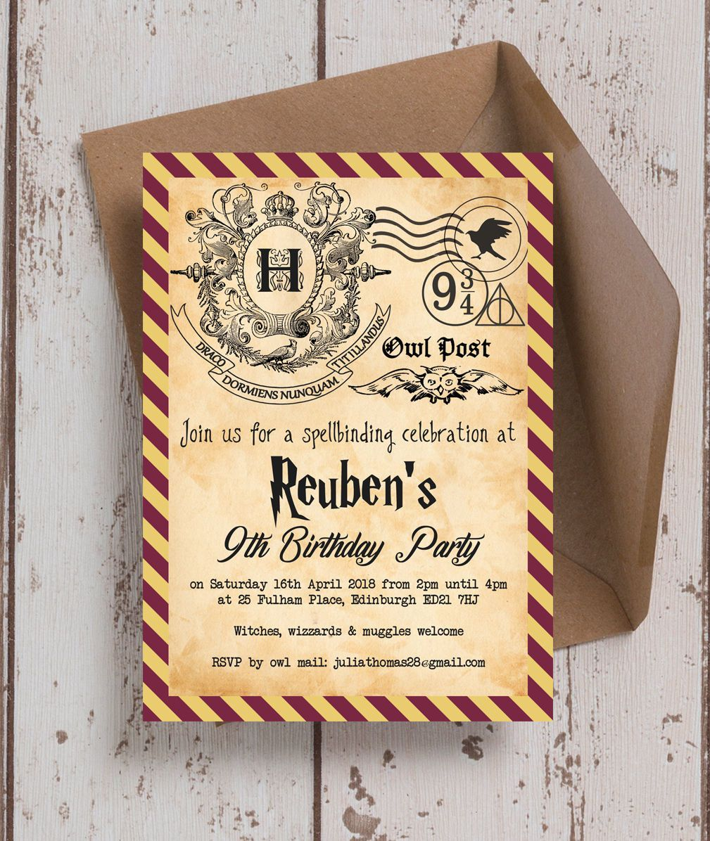download now harry potter ticket invitation template