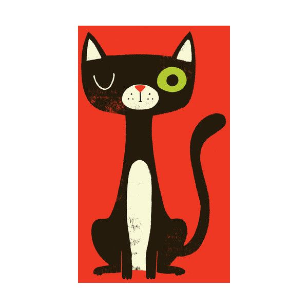 Black Cat Art Print by Monster Riot Society6 ($15) found on Polyvore