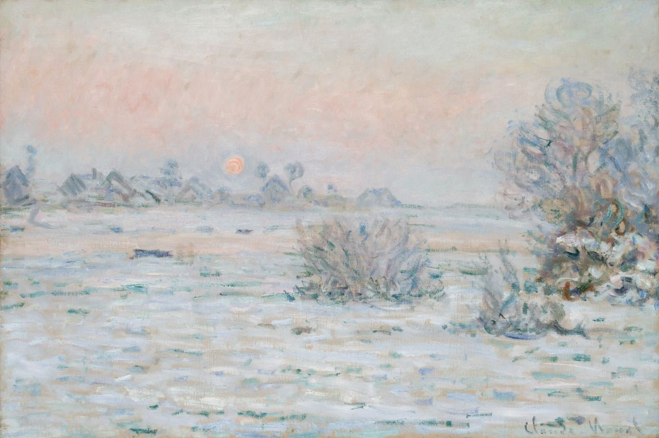 CLAUDE MONET : Soleil d'hiver, Lavacourt