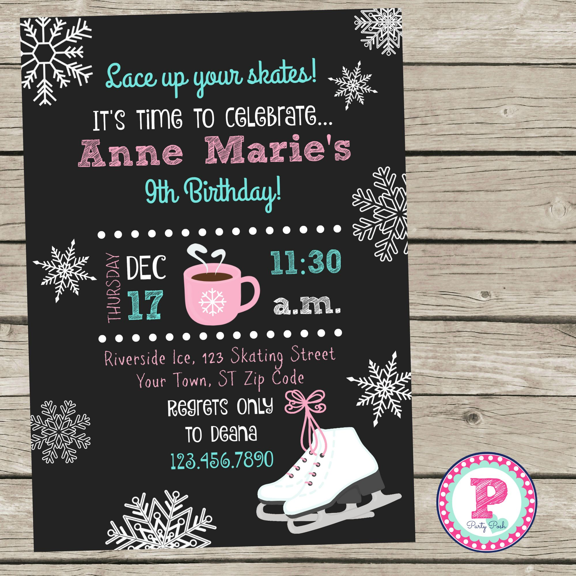 Chalkboard Ice Skating Party Invitation. | Party time | Pinterest ...