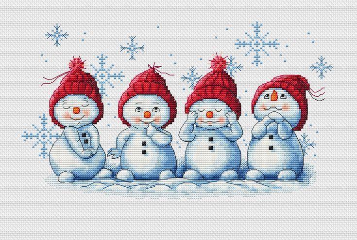 Photo of Snowman Cross Stitch Pattern PDF Instant Download Cute Cross Stitch Winter Cross Stitch Chris…