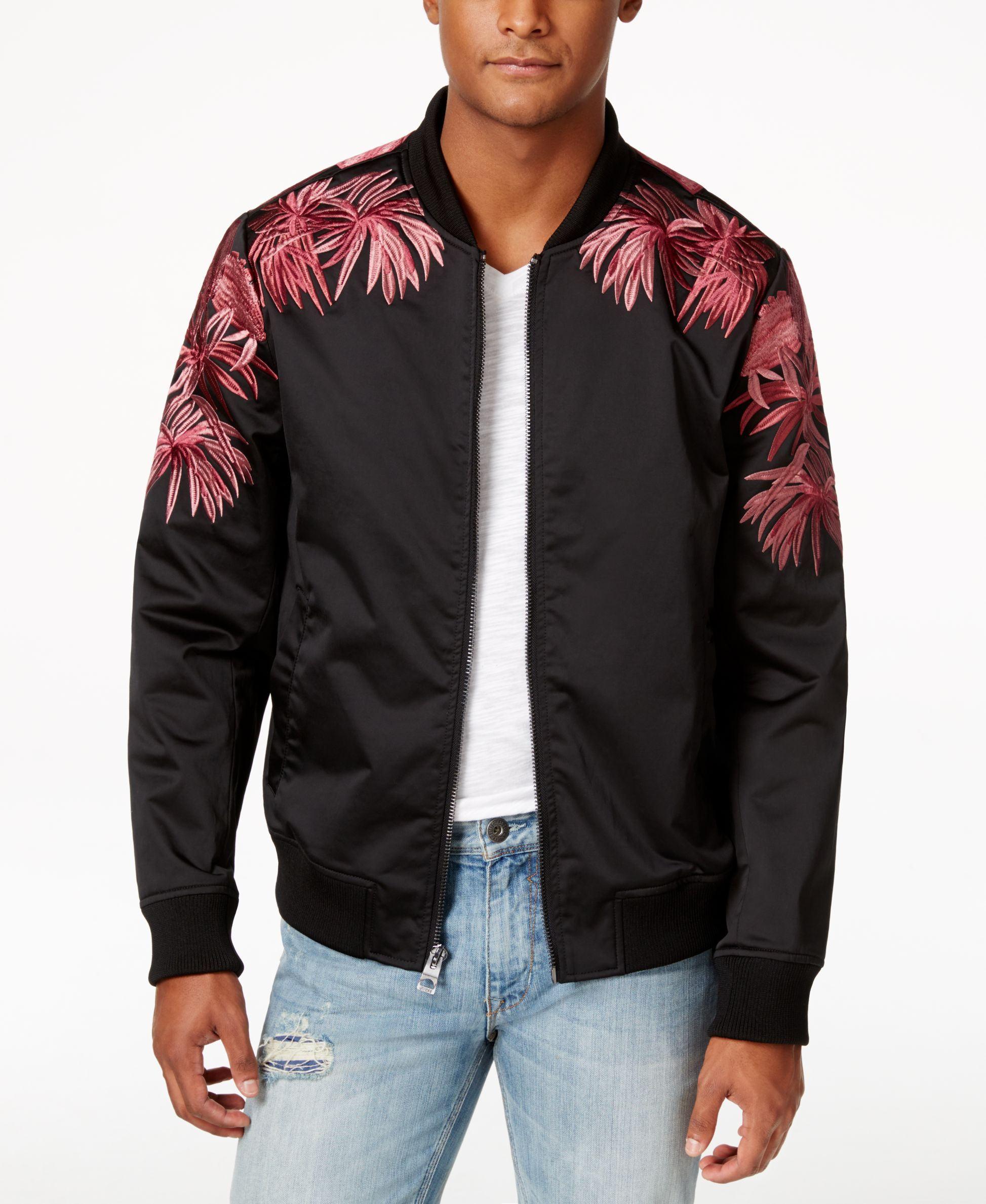 a734c0cf74cf Guess Men s Duke Floral Embroidered Bomber Jacket