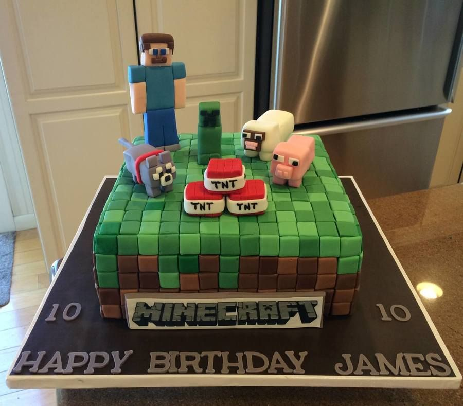 Minecraft Birthday Cake kids birthday party ideas Pinterest