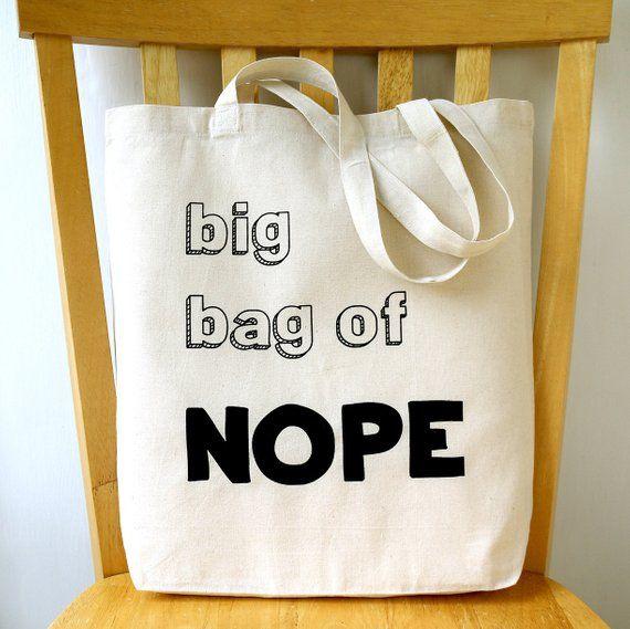 617da151e7b7 Nope Funny Tote Bag Canvas Book Bag   Products   Canvas book bag ...