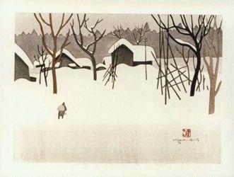 Woodblocks by Kiyoshi Saito and Tatsuo Kawashima - Postcards From Colorado: Winter Scenes