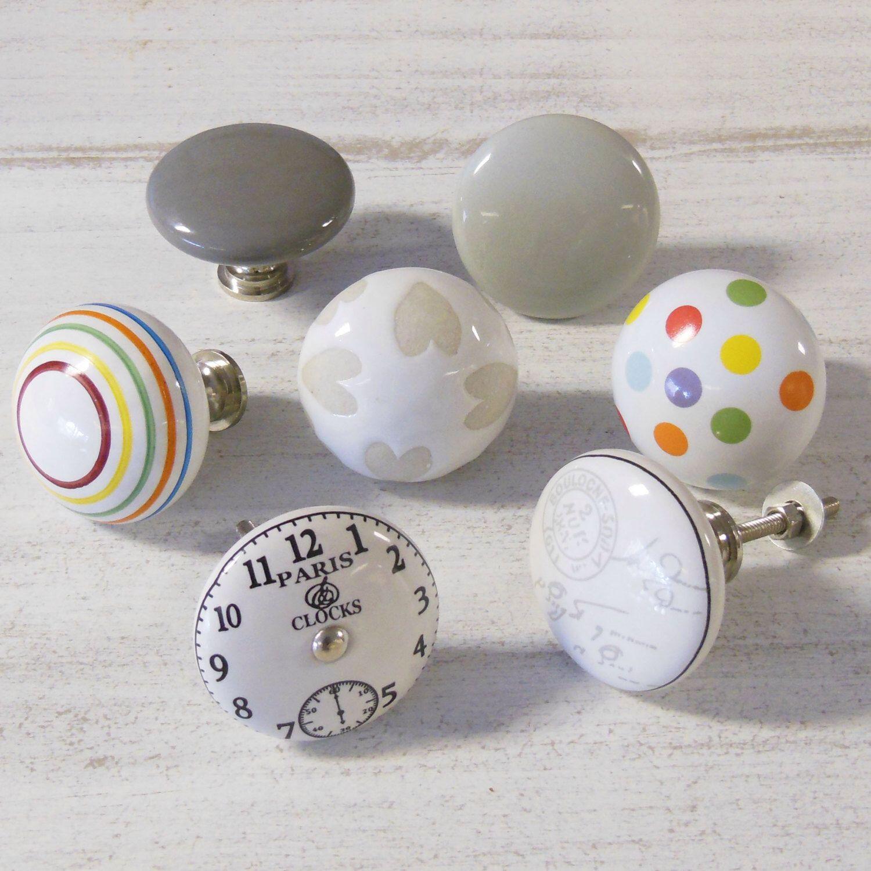 Large/Oversized spots stripes cream beige hearts clock grey ceramic ...