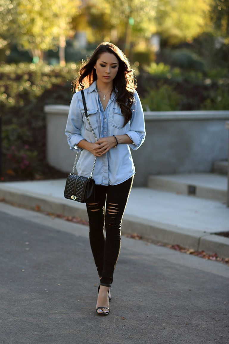 women's light blue denim shirt black ripped skinny jeans