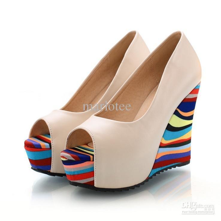 New Arrivals Fashion Women Sandals High Heels Cool Shoes Comfortable Color  Stripe Shoe Sole Fish- · Platform Wedges ShoesHigh Heel ...