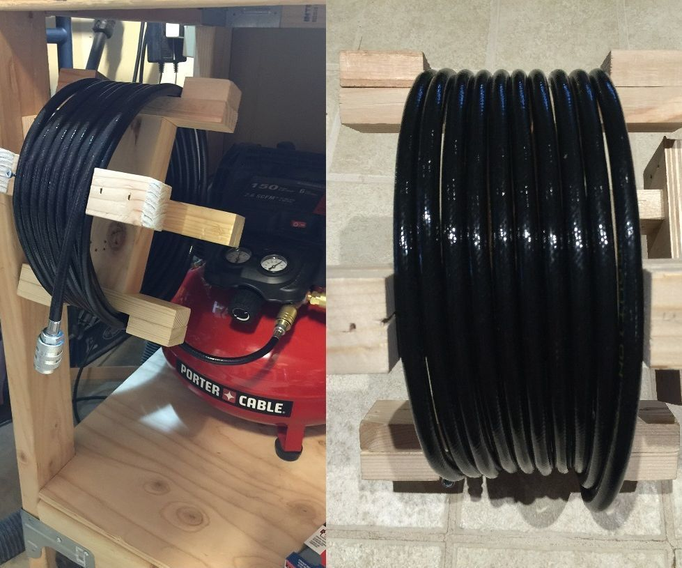 Diy Air Hose Reel Garage Pinterest And Porter Cable Compressor Wiring Diagram I Like A Lot Of Other Home Woodworkers Hobbyists Bought An Have Pancake It Came With 3 Nail Guns