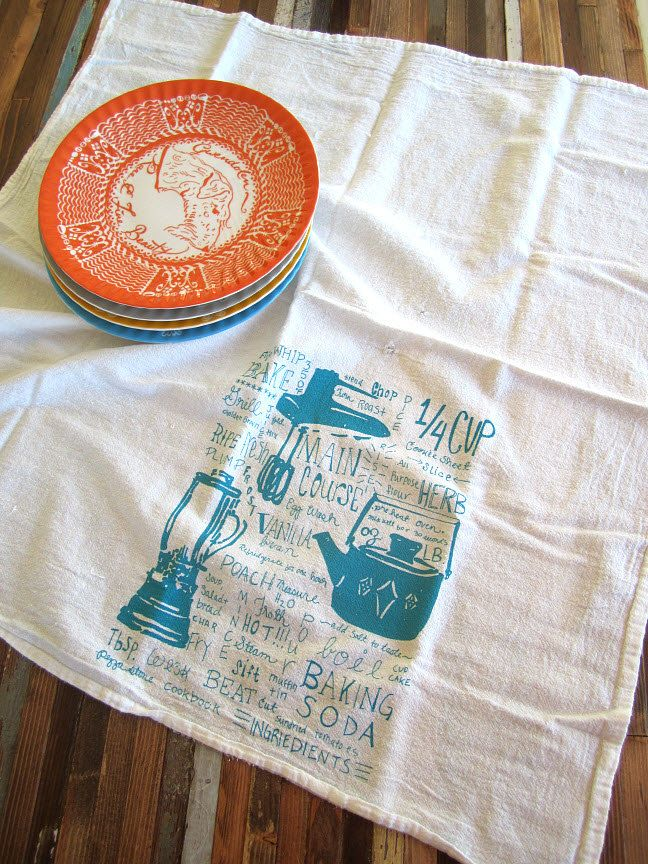 Marvelous Screen Printed Organic Cotton Kitchen Gadget Flour Sack Tea Towel   Eco  Friendly And Awesome Dish Towel Awesome Ideas