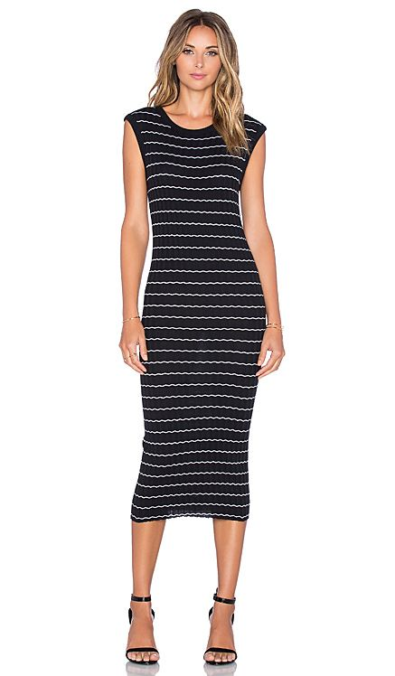 Enza Costa Cashmere Muscle Tank Midi Dress in Black and