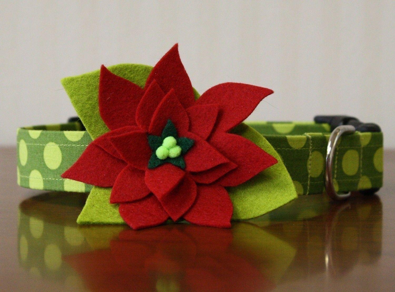 Christmas Dog Collar Red Poinsettia Felt Flower Dog Collar 30 00 Via Etsy Christmas Dog Collar Christmas Dog Dog Flower Collar