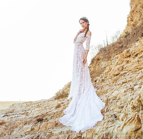SAMPLE SALE 55% OFF Boho Crop Top Wedding Dress in French Lace and ...