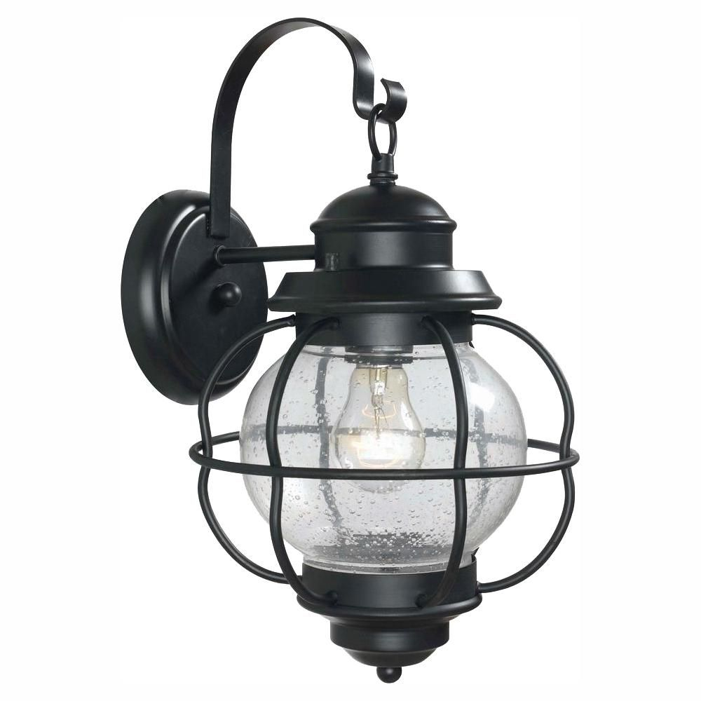 Home Decorators Collection Greer 1 Light Black Exterior Outdoor Wall Lantern Sconce With Caged Seeded Glass Hdp13670 Wall Lantern Wall Mount Lantern Outdoor Wall Lighting