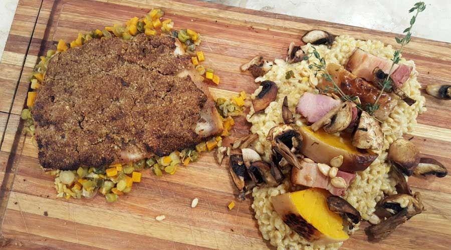 Manta de cerdo en croute de hongos, mirepoix de vegetales y guarnición de trigo