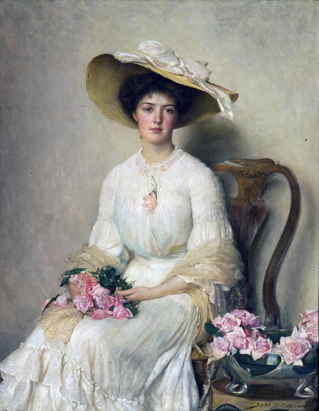 """""""Lady With Roses"""" By ~ John Henry Frederick Bacon ~ 1868 - 1914. 스며드는 빛과 일어서는 색광"""