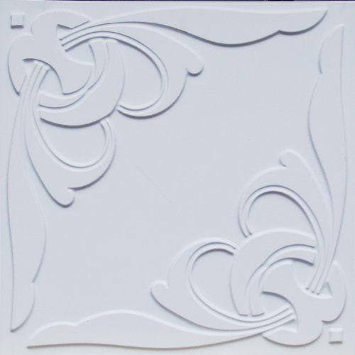 """D216 24"""" x 24"""" White Matte PVC Tin Look Glue Up Ceiling Tiles Euro-Deco Ceilings, Inc. http://www.amazon.com/dp/B006M3ECU8/ref=cm_sw_r_pi_dp_F-8bub0VESTY7"""