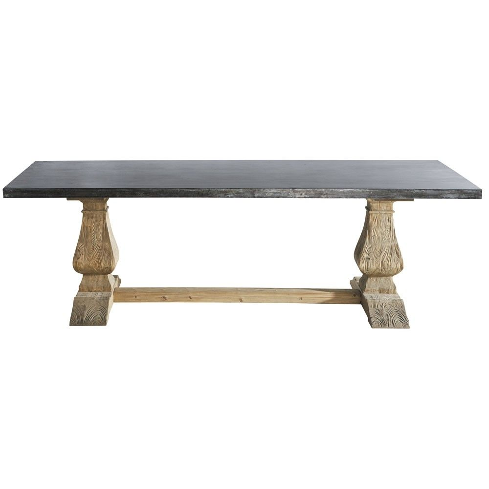 Metal and recycled wood seater dining table l seater