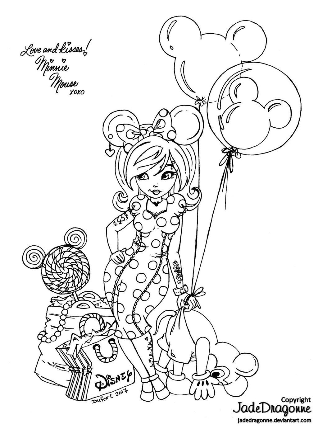 Disney girls minnie by jadedragonne coloring pages pinterest
