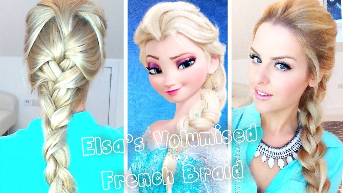 Volumised French Braid Hair Tutorial Frozen Elsa Elsa