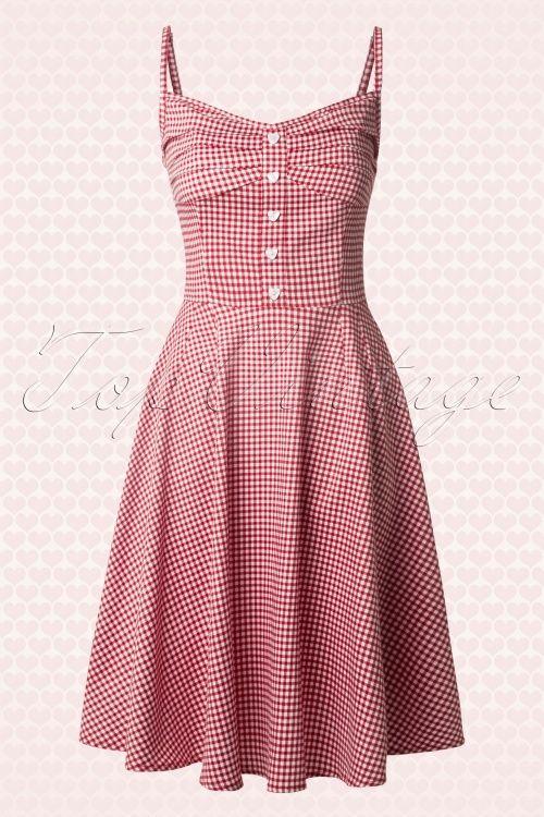 57557295c2c0 Collectif Clothing Fairy Picknick Gingham Print Swing Dress 14761 01