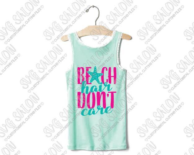Beach Hair Dont Care Anchor Custom DIY Iron On Vinyl Shirt Decal - Custom vinyl decals machine for shirts