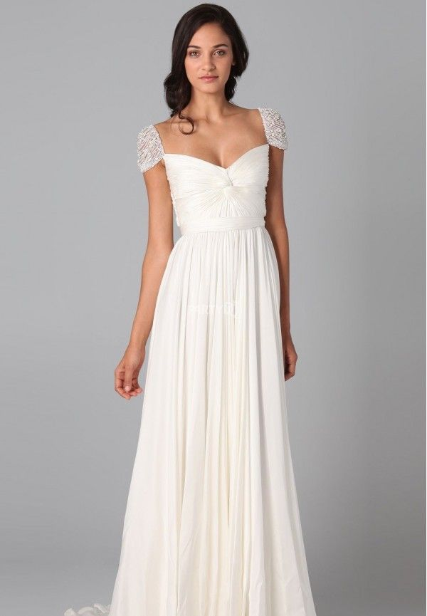 Cap Sleeve Evening Dress In White Love Wedding Pinterest