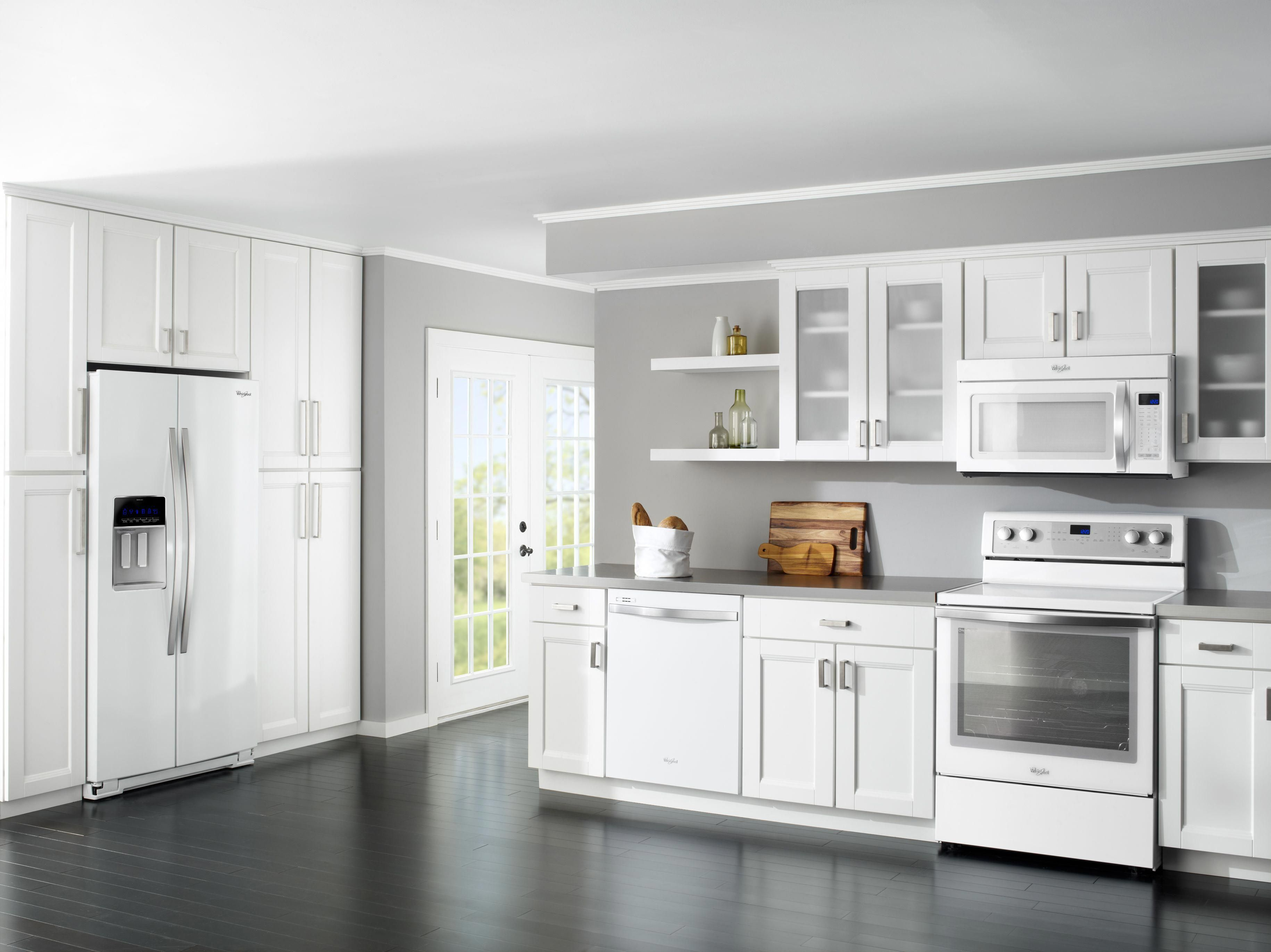 We Love The All White Kitchen Trend This Is A Photo Of Whirlpool S White Ice Collection With White Modern Kitchen White Kitchen Decor White Kitchen Appliances