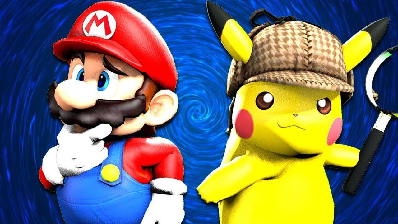Smg4 Detective Mario Pikachu Youtube Mario Mario And Luigi Mario Memes