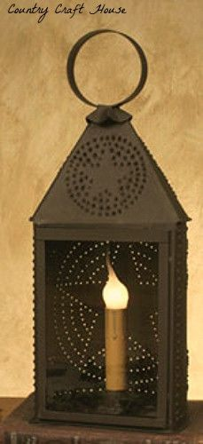 Primitive Colonial Revere Rusty Punched Star Tin Electric Lamp Light Lantern Primitive Lighting Primitive Lamps Lantern Lights