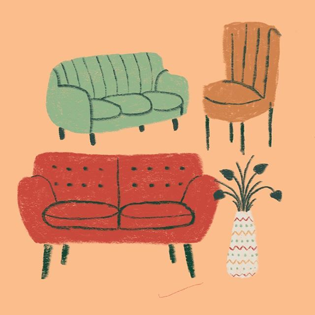 I M A Sucker For Cute Chairs Illustration Illustrator Illustrationoftheday Instaart Makersmovement Ma Interior Illustration Sofa Drawing Illustration