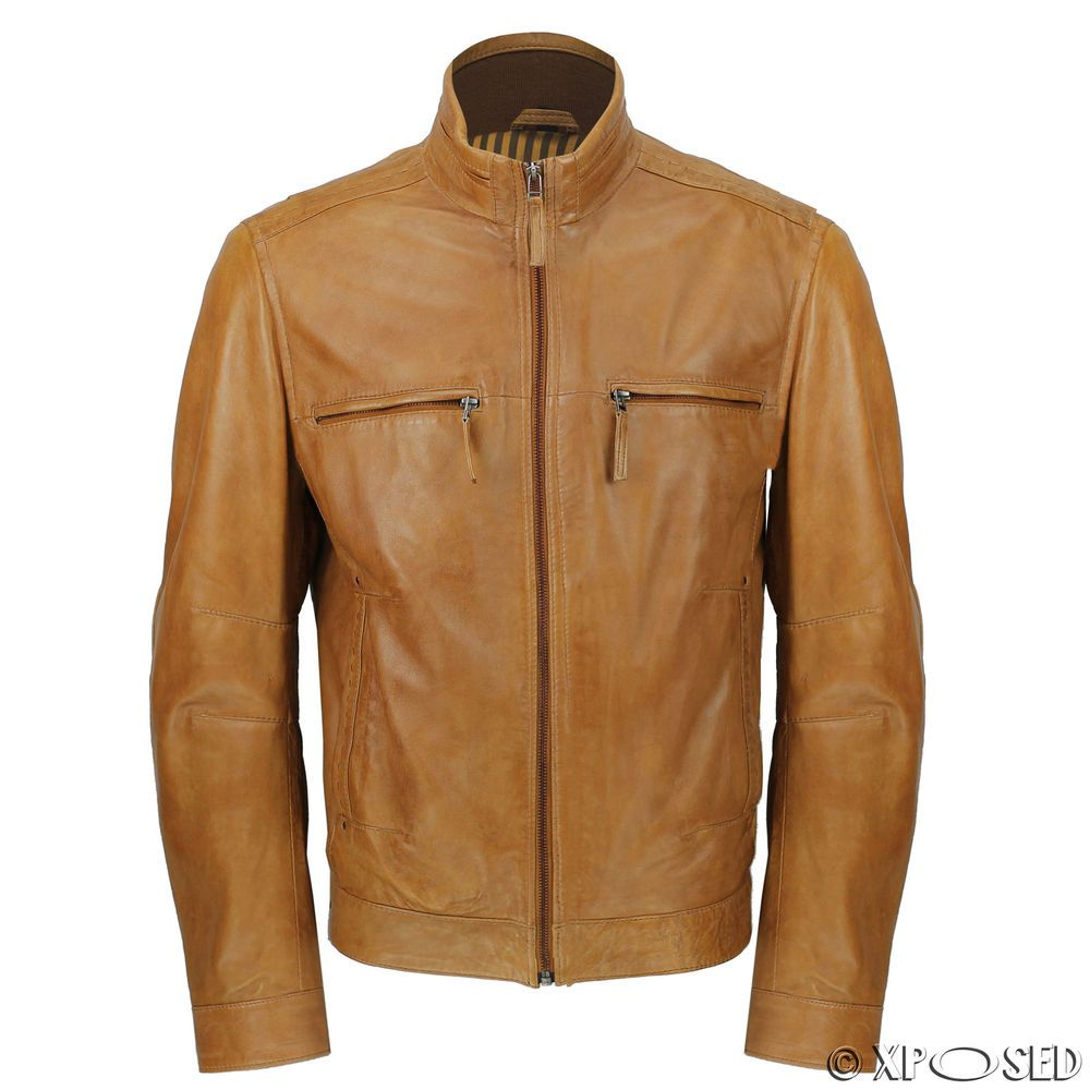 Mens Tan Real Ultra Soft Sheep Leather Classic Biker Style Zipped Bomber Jacket Ebay Leather Jacket Men Real Leather Jacket Biker Style [ 1000 x 1000 Pixel ]
