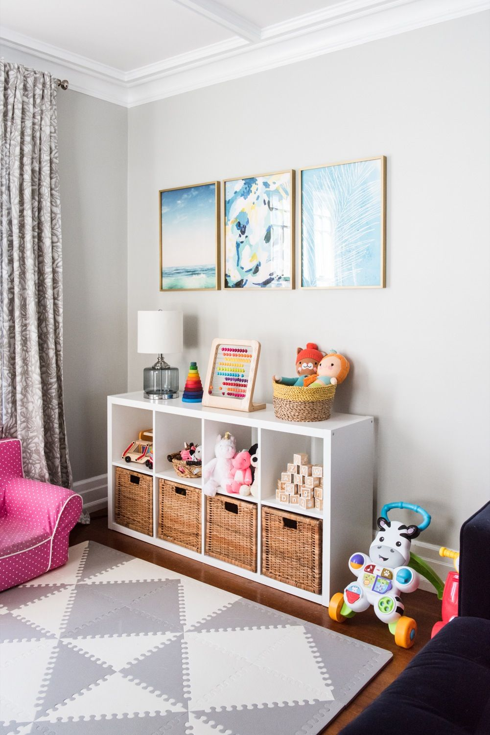 Emerson S Modern Playroom Tour Living Room Playroom Modern Playroom Colorful Playroom