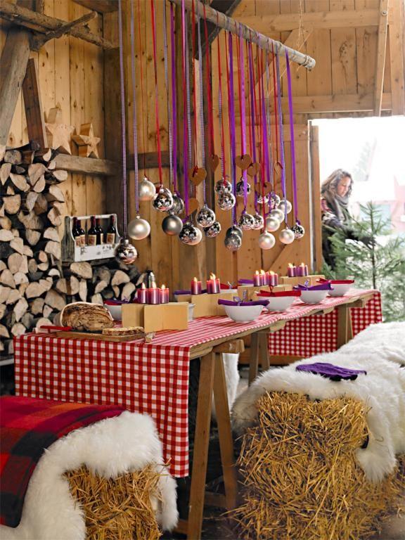Weihnachtsfeier Deko Ideen.Tisch In Scheune Holiday Christmas Ideen Zum Advent Ideen