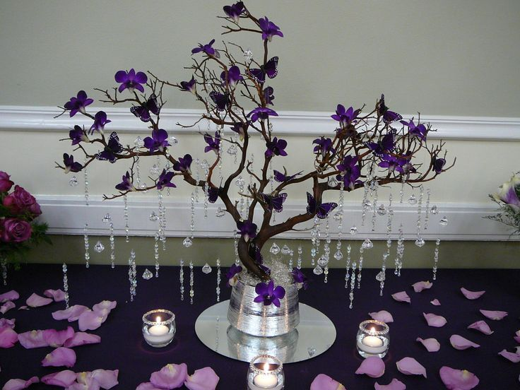 Manzanita Tree Purple Orchids Erflies And Crystal Jewels Quinceanera Centerpiecesdiy Centerpiecesquinceanera