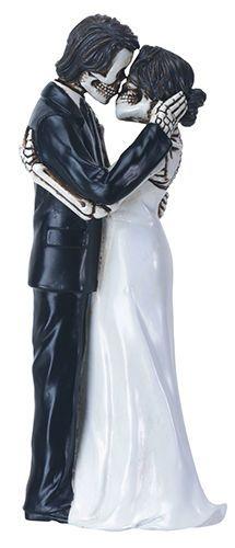LOVE NEVER DIES WEDDING COUPLE SKELETON HALLOWEEN WEDDING CAKE TOPPER.8619S