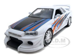 Click Image Above To Purchase: Nissan Skyline Gt-r Diecast Car Model 1/24 White Die Cast Car By Bburago