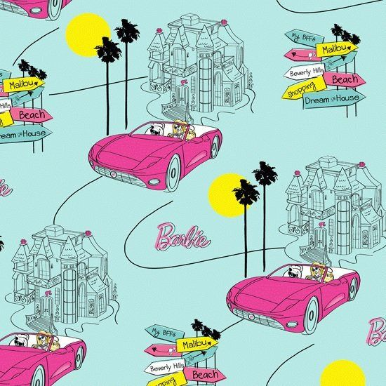 Barbie Doll Cartoon Tv Movie Novelty Liscensed Car Auto Kids Disney Fabric Barbie Dream Fabric Yard
