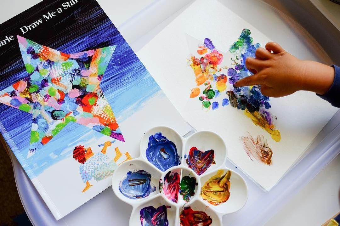 Kids Art Project: Q-Tip Star Art - Mess for Less |Star Art Projects For Preschoolers