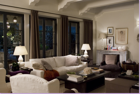 Living Room of Cameron Diaz's Character, Amanda in The Holiday. Clean Lines, Neutral Colors, Stunning Decor.