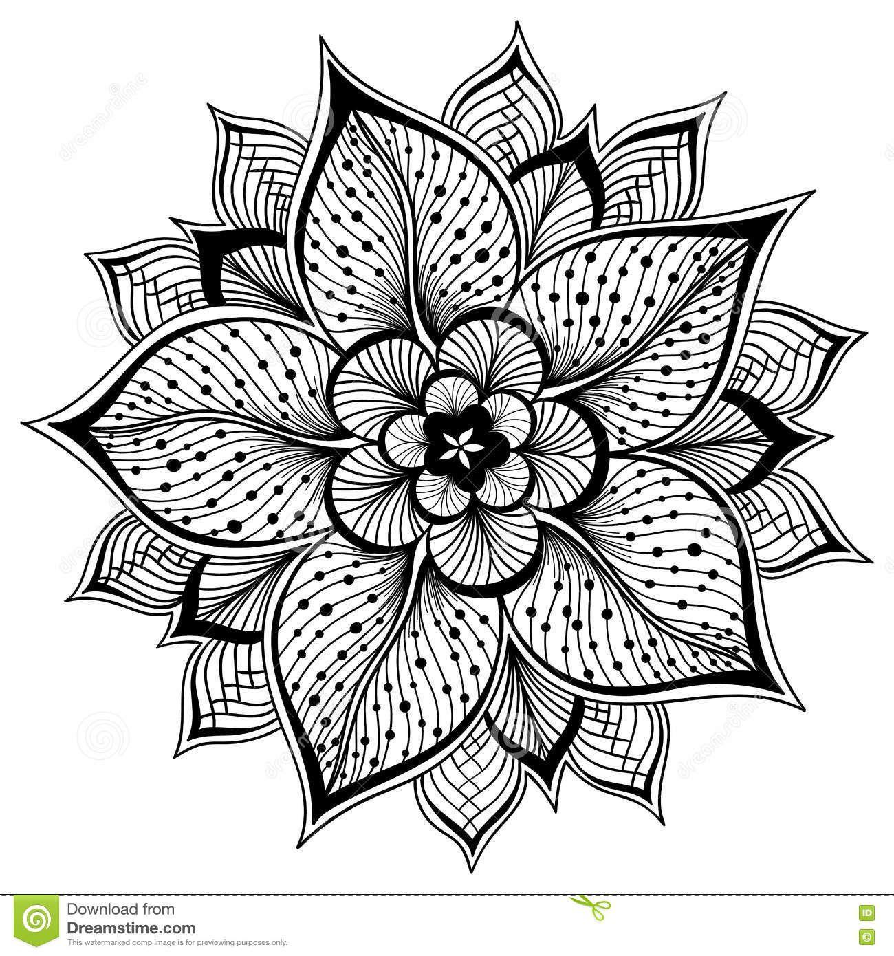 Vector Illustration Of Outline Mandala For Coloring Book