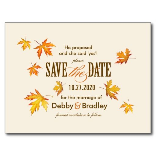 Fall Wedding Save The Date Postcard Template Postcard template - postcard template