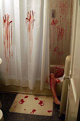 ThinkGeek Horror Movie Shower Curtain Bath Mat Bloody Bathroom